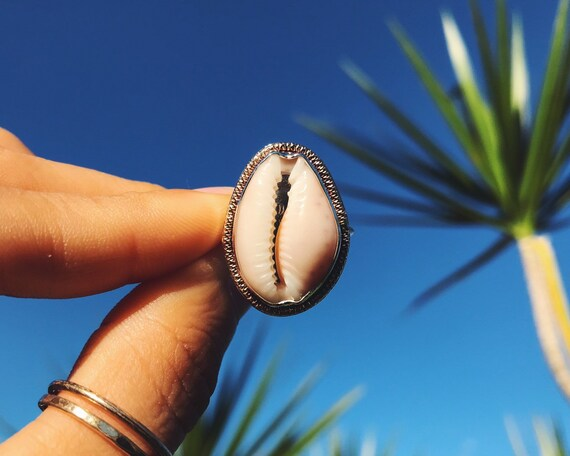 cowry shell sunshine ring, made to order