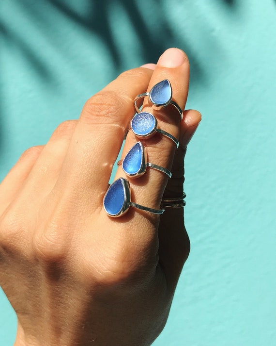 dainty shaped stacking sea glass rings cornflower blue