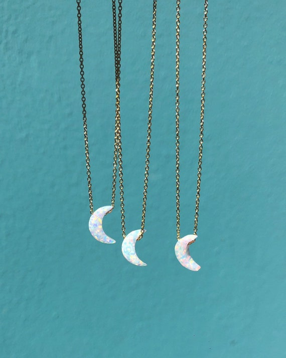 opal moon charm necklace on a dainty chain