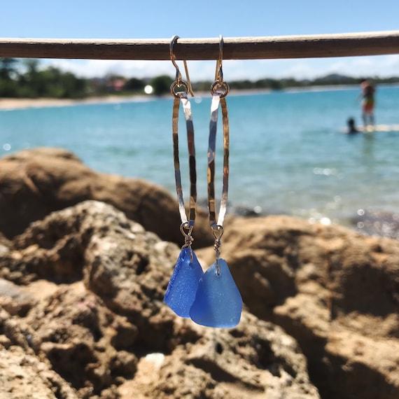 dark cornflower blue sea glass hammered hoops in gold