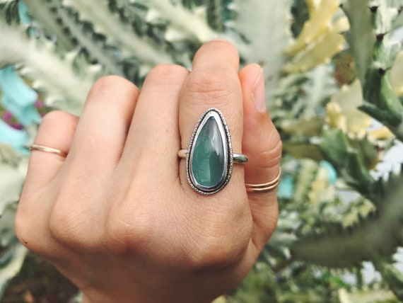 polished teal sea glass ring, size 8