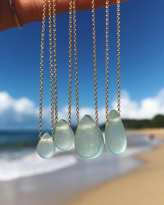 sea foam ocean drop necklaces in silver or gold