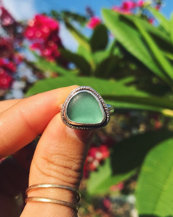 genuine teal green sea glass ring, size 6 1/2
