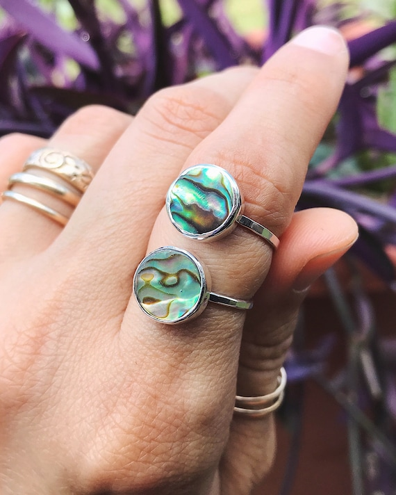on sale - abalone stacking rings, sizes 6 3/4 & 7 1/2