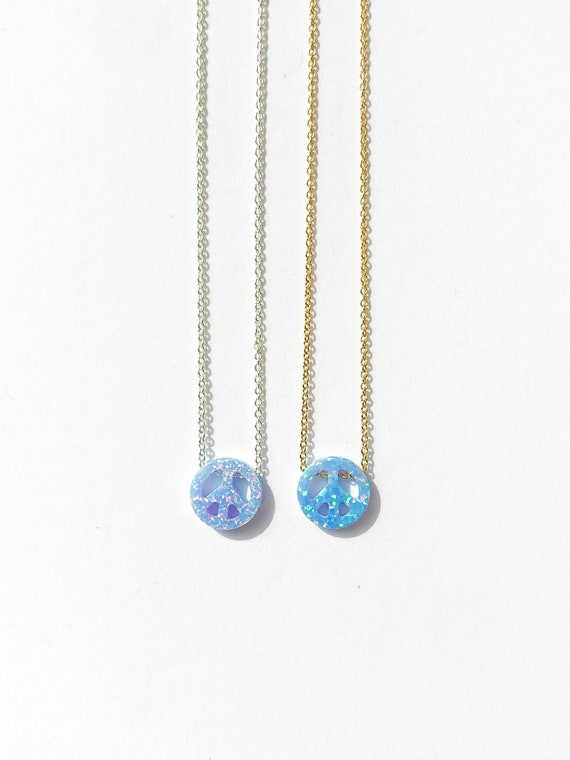 peace sign opal charm necklace