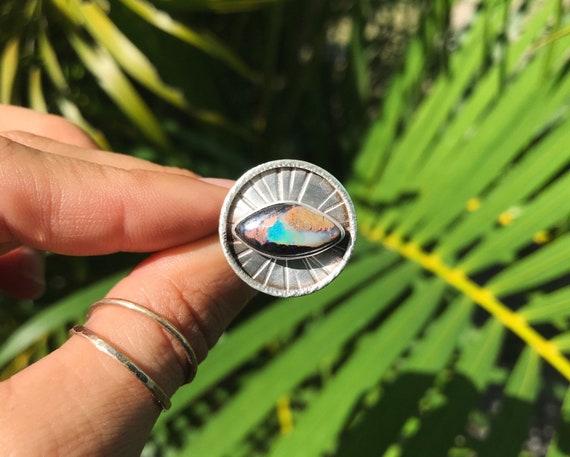 boulder opal sun medallion statement ring, size 7 1/2