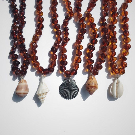 certified Baltic amber beach baby teething necklace with or without a shell