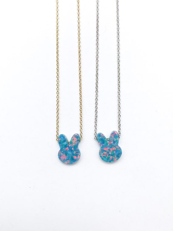 bunny opal charm necklace