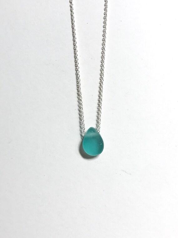 aqua blue ocean drop necklace in sterling silver or 14k gold fill