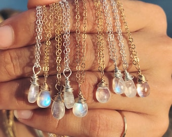 dainty rainbow moonstone necklaces on 14k gold fill or sterling silver chains