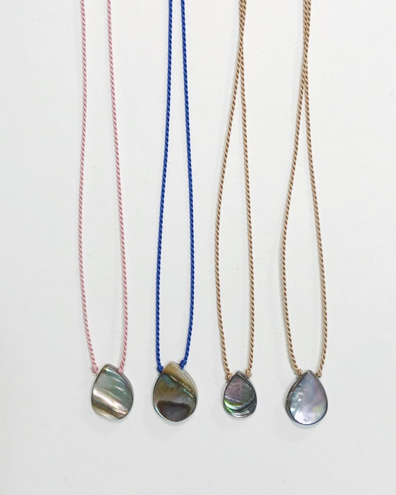 dainty abalone/paua necklaces on silk cord