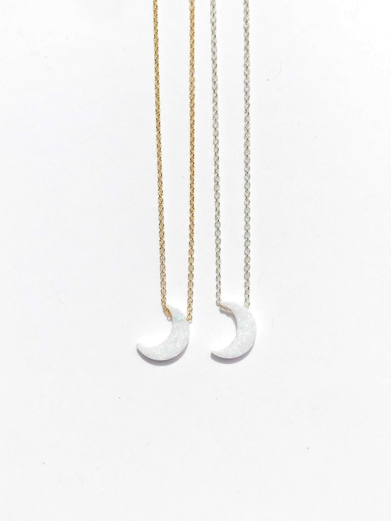 crescent moon opal charm necklace