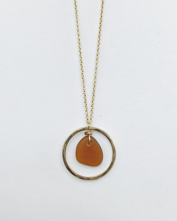 honey amber sea glass hoop necklace in 14k gold fill