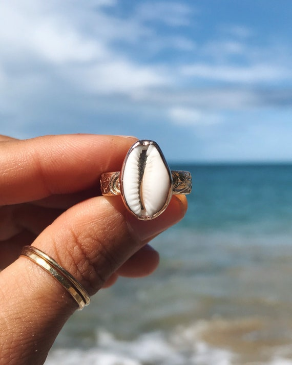 cowrie shell on a floral band, made to order