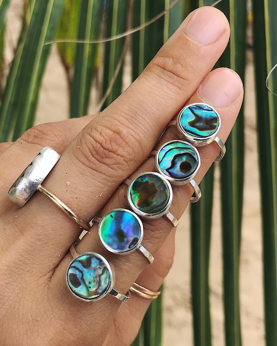 sterling silver abalone stacking ring