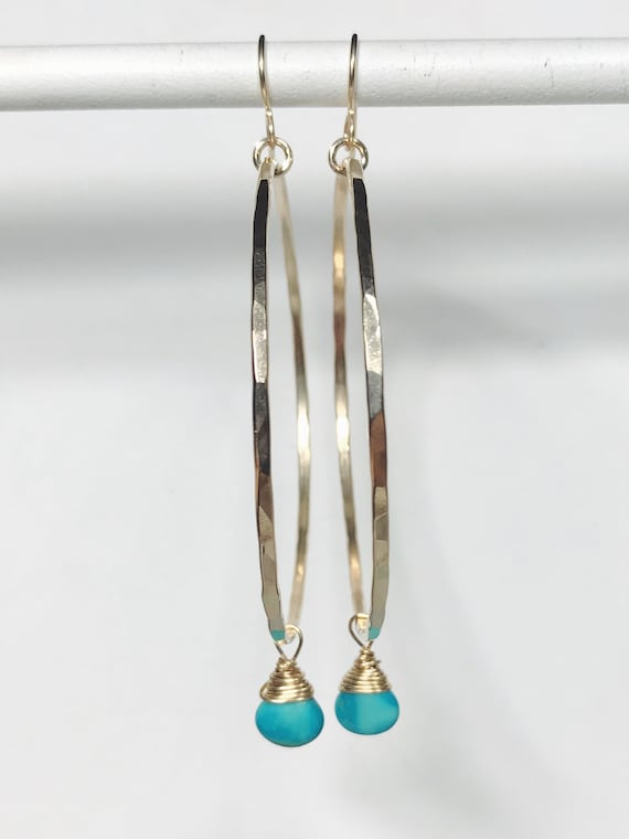 large hammered 14k gold filled hoops with blue green turquoise