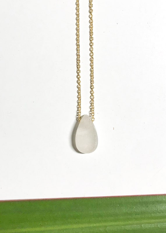 clear white ocean drop necklace in sterling silver or 14k gold fill