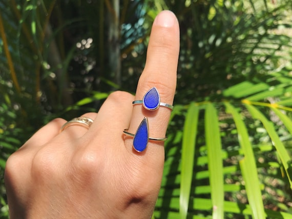 sculpted cobalt blue tear drop sea glass stacking rings