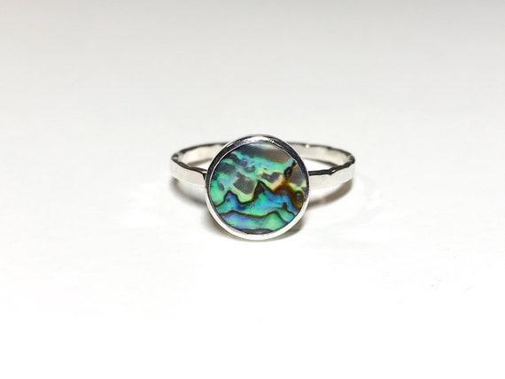 magic ocean abalone stacking ring, size 9.5