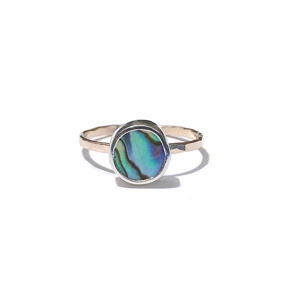 abalone mixed metal stacking ring, size 8 1/4