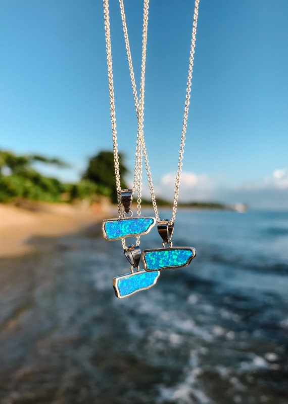 dainty Puerto Rico opal charm necklace for charity