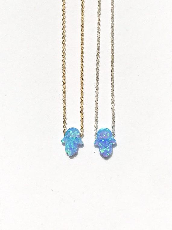 hamsa hand opal charm necklace