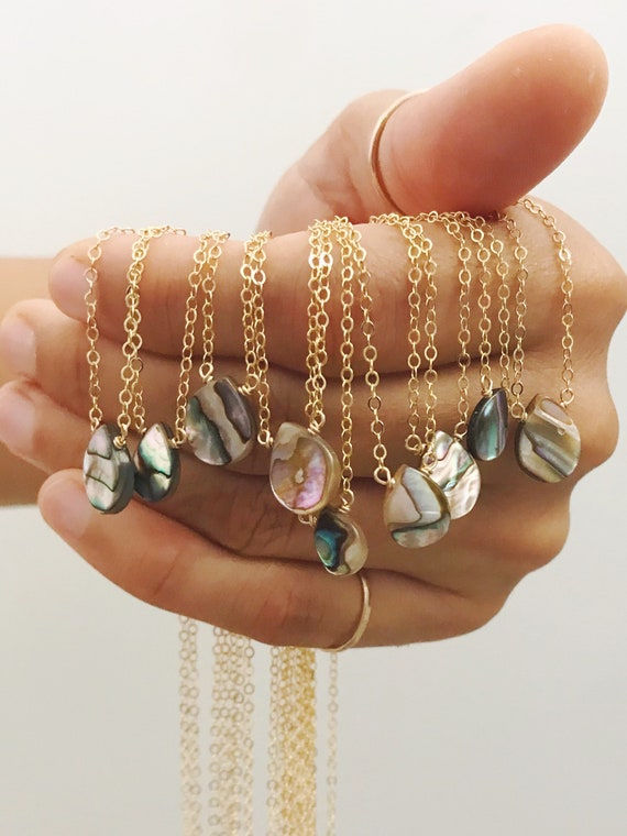 dainty abalone/paua necklaces on 14k gold fill or sterling silver