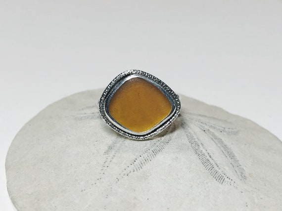 golden amber sea glass ring, size 8-8 1/2