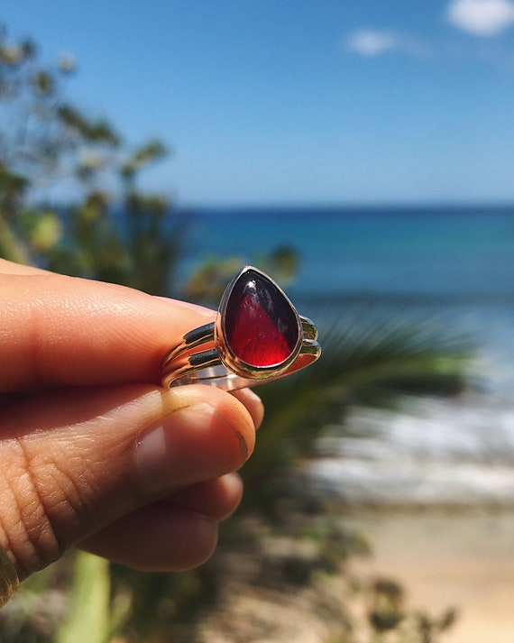 custom red sea glass ring for charity