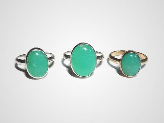 mint green chrysoprase ring in sterling silver or 14k gold fill, custom made