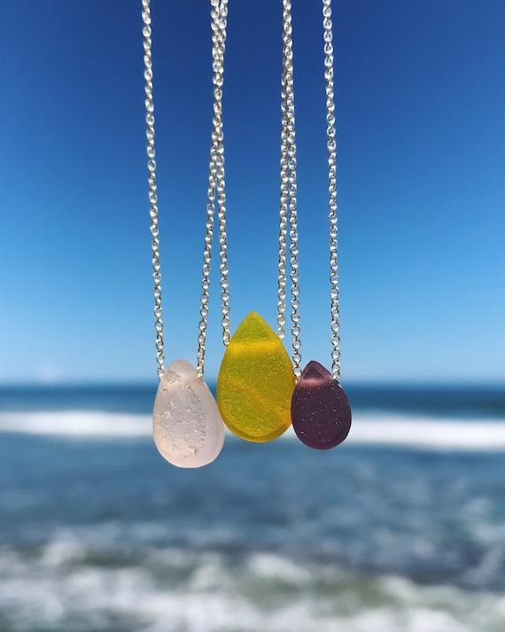 sea glass drop necklaces in rare colors