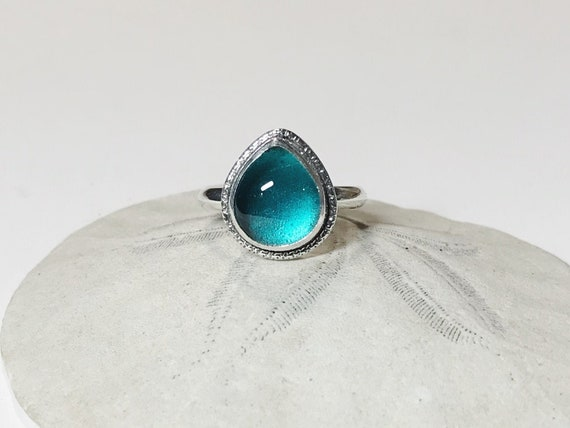 teal blue sea glass ring, size 7-7 1/2