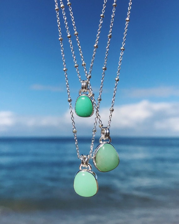 minty apple green chrysoprase necklaces