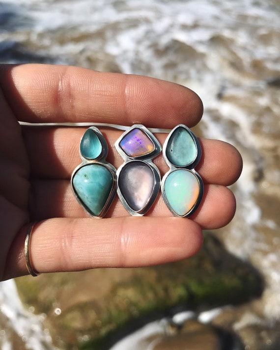 sea glass pairings with opal & larimar - custom ring / cuff / pendant