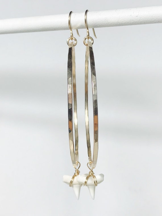 large hammered 14k gold filled hoops with white shark teeth