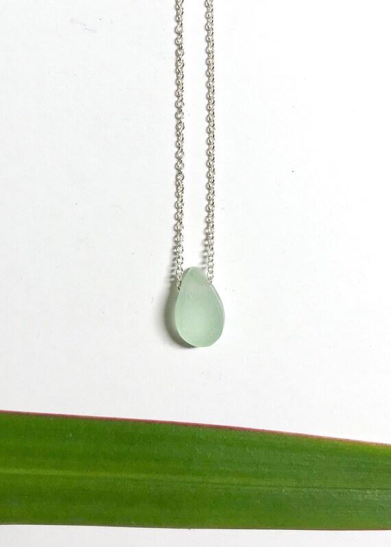 sea foam ocean drop necklace in sterling silver or 14k gold fill
