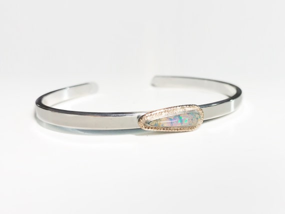 tear drop pipe crystal opal cuff
