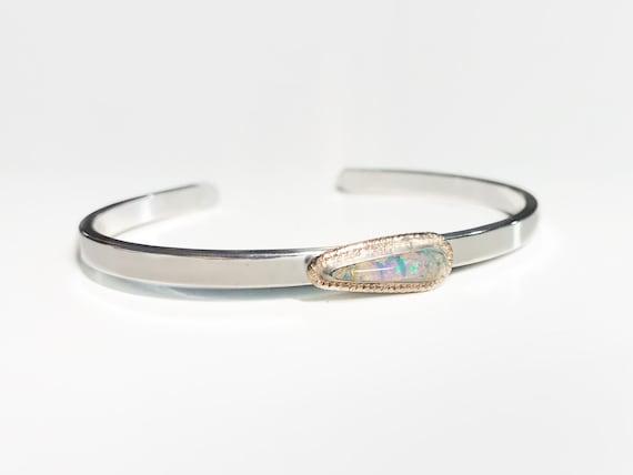 tear drop pipe crystal opal cuff