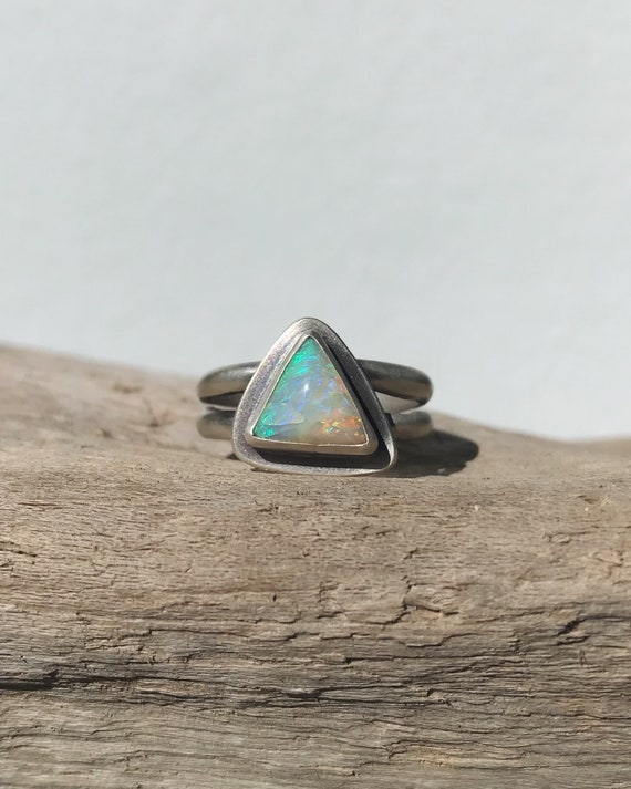 electric clouds triangle boulder opal rings, made to order
