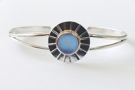 genuine cornflower blue sea glass mixed metal cuff
