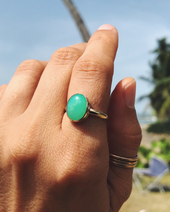 mint & apple green chrysoprase ring in sterling silver or 14k gold fill
