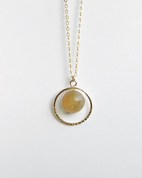 citrine sun necklace in mixed metals