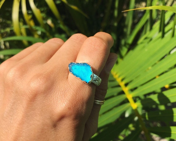 ultra rare turquoise sea glass ring on flower patterned band, size 8