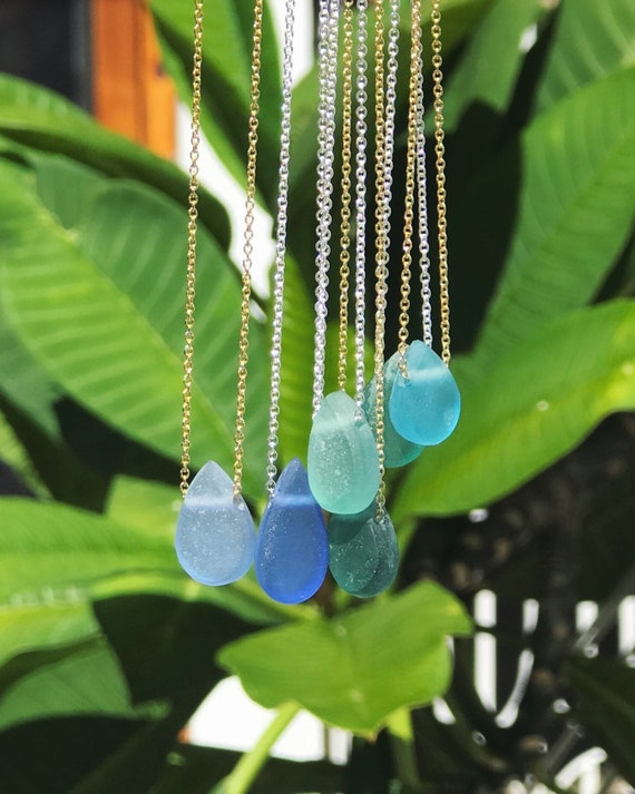 ocean drop sea glass necklaces, silver or 14k gold fill