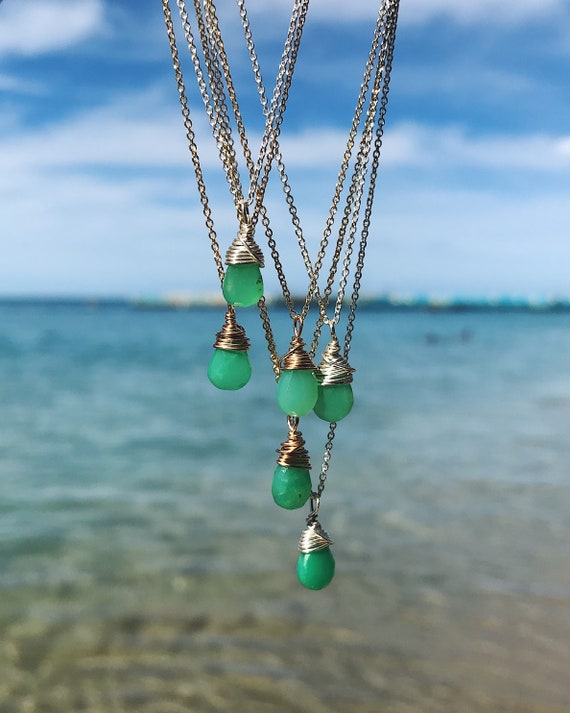 apple green chrysoprase necklaces in sterling silver or 14k gold fill