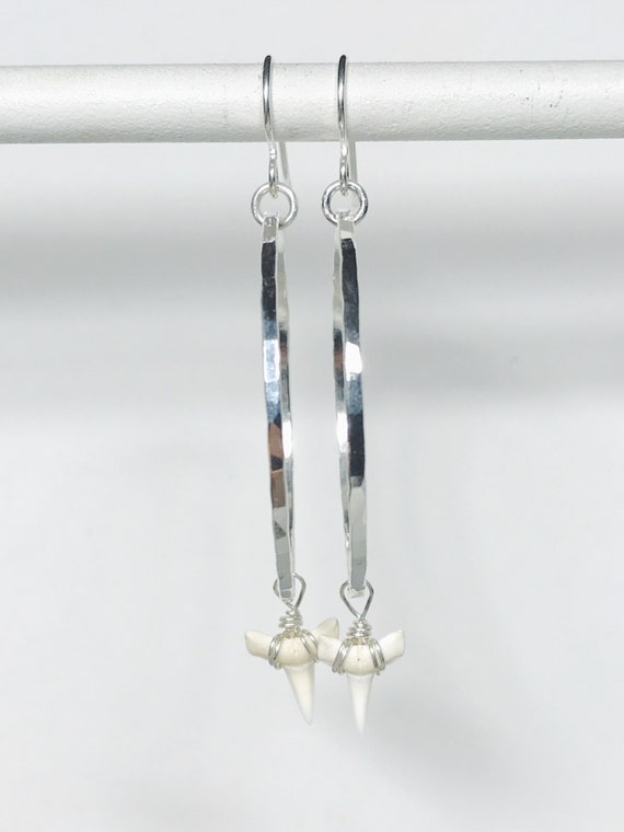 medium size dainty sterling silver hoops with white shark teeth