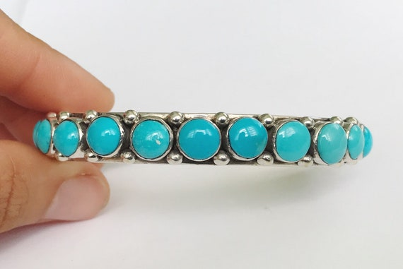 heavy multi stone sterling silver turquoise cuff