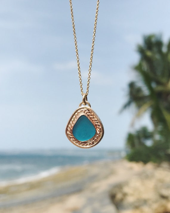 electric blue sea glass + detailed gold necklace