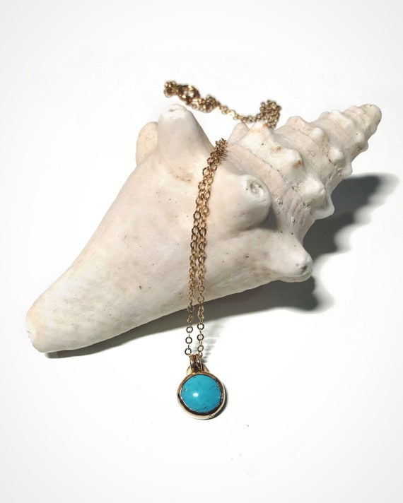 turquoise necklace in 14k gold fill - 25% towards Bahamas post hurricane Dorian food aid