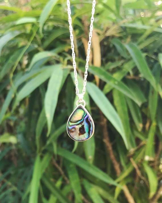 bezel set tear drop abalone necklace in silver or gold